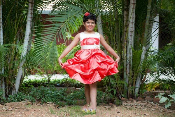 girls dresses in red and white
