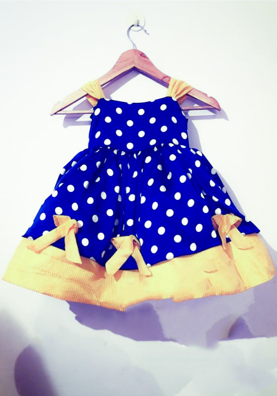 Comfortable blue dress for little girls with yellow prints