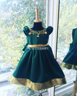 western dresses for girls bottle green dress with gold