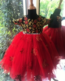 a butterfly red baby girl dress