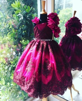 kids wear wine red ball gown for 1 year and above