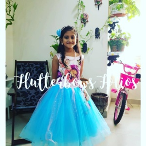 Blue and white party wear for girls