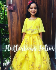 Customised yellow gown for little girls