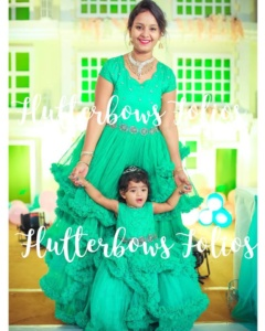 Mom daughter matching party wear in green