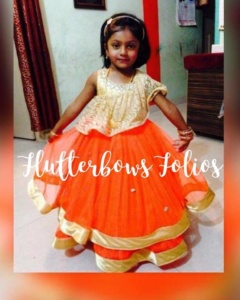 Trendy wear for kids in orange and golden