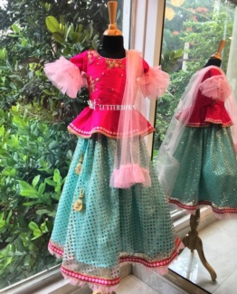 pink ethnic wear for little girls