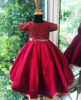 Raw silk gown for little girls