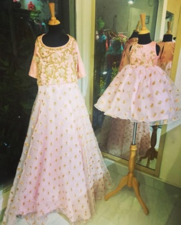 Peach Puff Dress - Mother and Daughter Combo