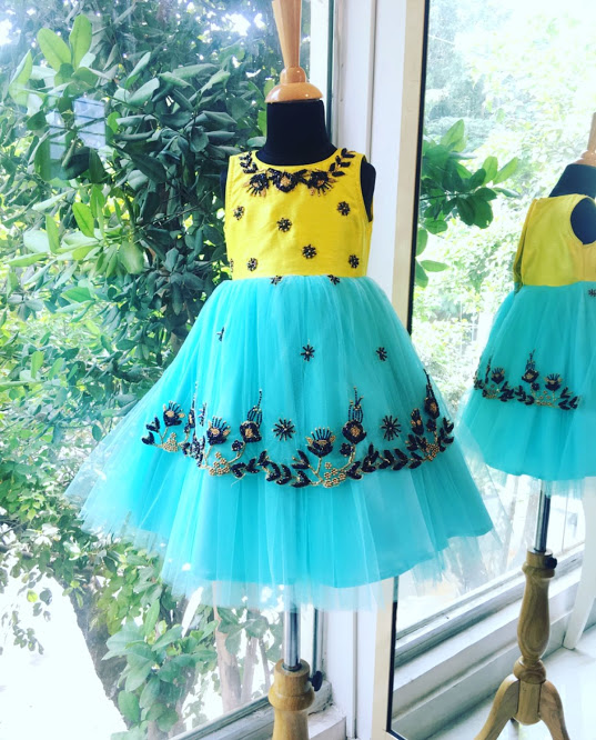 Lemon and Blue Girls Dress