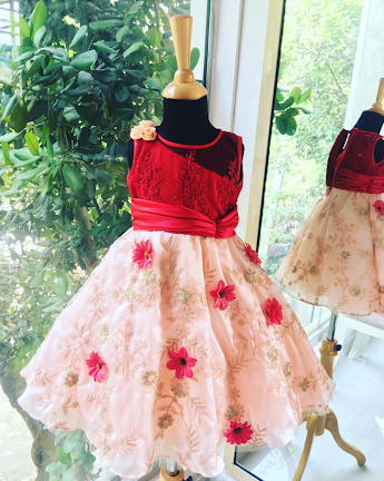 Red and Peach Girls Dress