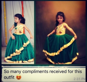 Beautiful Gold and Green Party Wear for Girls