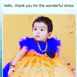 Blue and Orange Elegant Dress for Your Little One