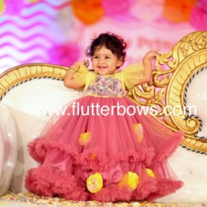 Yellow and Pink Dress for Little Ones